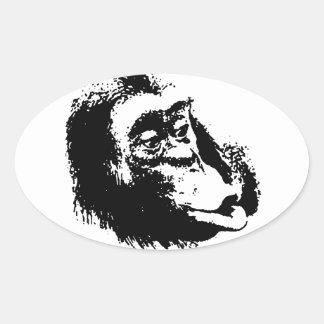 Pop Art Funny Chimpanzee Oval Sticker