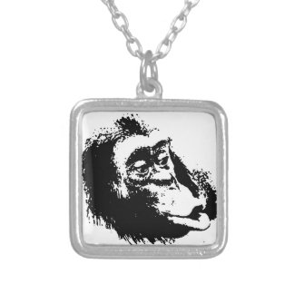 Pop Art Funny Chimpanzee Silver Plated Necklace