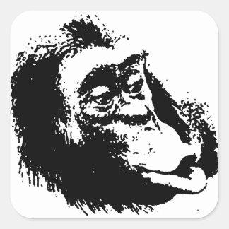 Pop Art Funny Chimpanzee Square Sticker