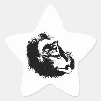 Pop Art Funny Chimpanzee Star Sticker