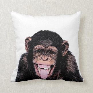 Pop Art Funny Chimpanzee Throw Pillow