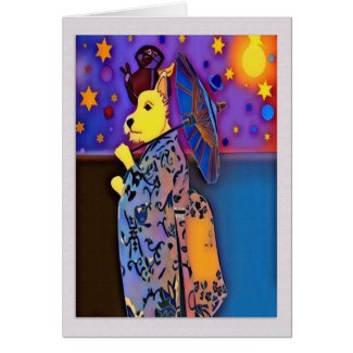 Pop Art Geisha West Highland Terrier Card