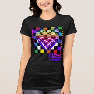 Pop Art Geometric CricketDiane Rainbow Hearts T-Shirt