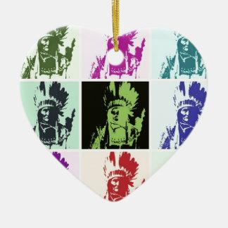 Pop Art Geronimo Double-Sided Heart Ceramic Christmas Ornament