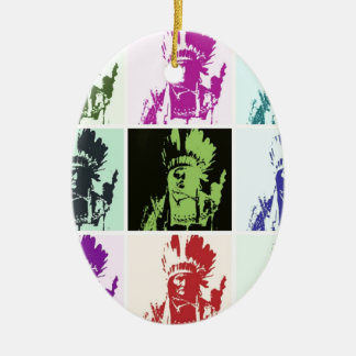 Pop Art Geronimo Double-Sided Oval Ceramic Christmas Ornament
