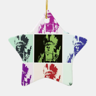 Pop Art Geronimo Double-Sided Star Ceramic Christmas Ornament