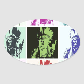 Pop Art Geronimo Oval Sticker