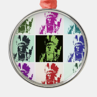 Pop Art Geronimo Round Metal Christmas Ornament