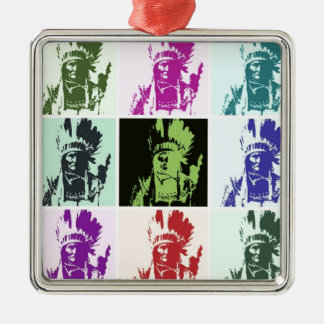 Pop Art Geronimo Square Metal Christmas Ornament
