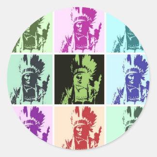 Pop Art Geronimo Round Sticker