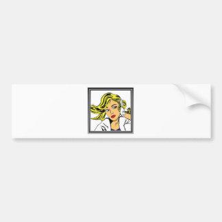 Pop art girl vector design bumper sticker