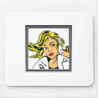 Pop art girl vector design mouse pad
