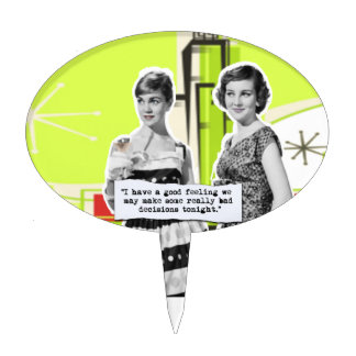 Pop Art Girls with Bad Decisions Oval Cake Toppers