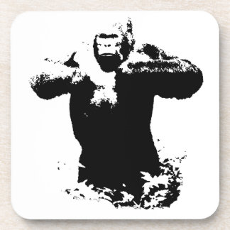 Pop Art Gorilla Beating Chest Hard Plastic Coaster