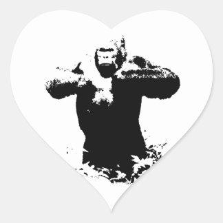 Pop Art Gorilla Beating Chest Heart Sticker
