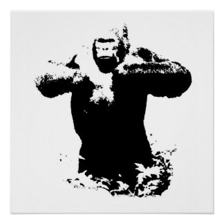 Pop Art Gorilla Beating Chest Perfect Poster