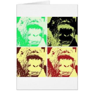Pop Art Gorilla Faces Card