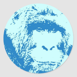 Pop Art Gorilla Faces Classic Round Sticker
