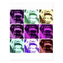 Pop Art Gorilla Faces Postcard