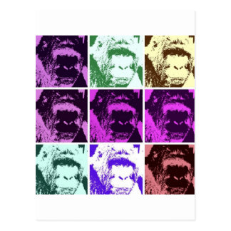 Pop Art Gorilla Faces Postcard