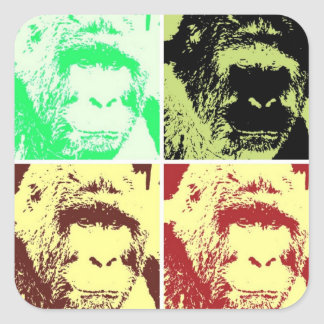 Pop Art Gorilla Faces Square Sticker