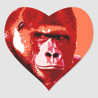 Pop Art Gorilla Heart Sticker