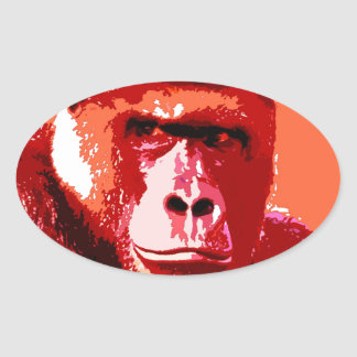 Pop Art Gorilla Oval Sticker
