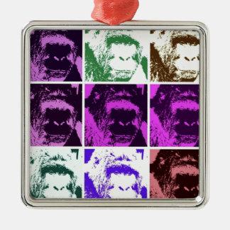 Pop Art Gorillas Square Metal Christmas Ornament