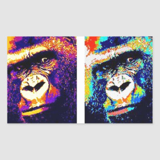 Pop Art Gorillas Rectangular Sticker