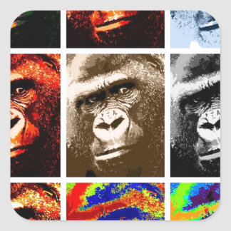 Pop Art Gorillas Square Sticker