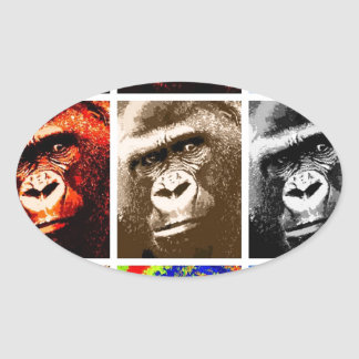 Pop Art Gorillas Oval Sticker