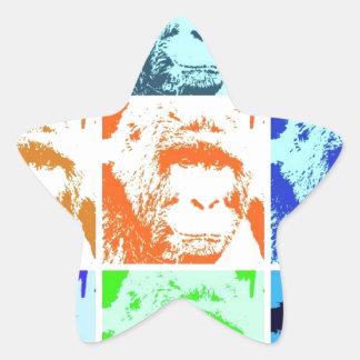 Pop Art Gorillas Star Sticker