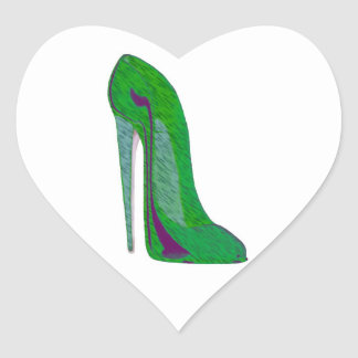 Pop-Art Green and Black Stiletto Shoe Heart Sticker