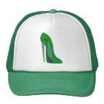 Pop-Art Green and Black Stiletto Shoe Mesh Hat