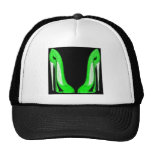 Pop-Art Green and Black Stiletto Shoes Hats