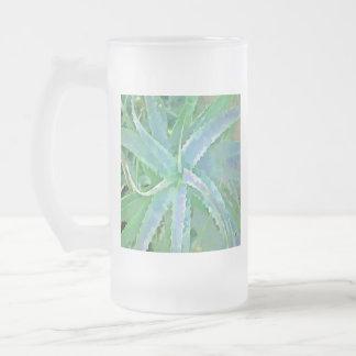 Pop Art Grey Green Aloe Frosted Glass Beer Mug