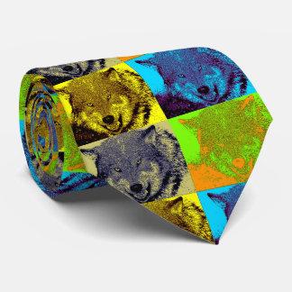 Pop Art Grey Wolf Tie