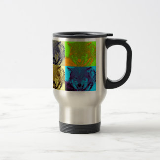 Pop Art Grey Wolf Travel Mug