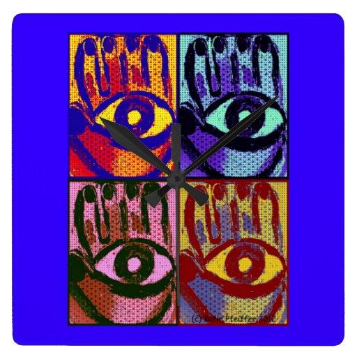 Pop Art Hamsa Wall Clock by Katie Pfeiffer