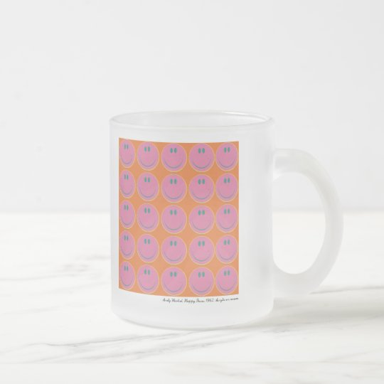 pop art happy faces frosted glass coffee mug