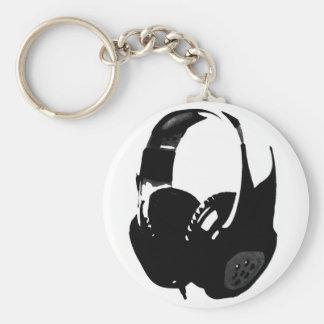 Pop Art Headphone Basic Round Button Keychain
