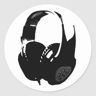 Pop Art Headphone Classic Round Sticker