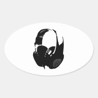 Pop Art Headphone Oval Sticker