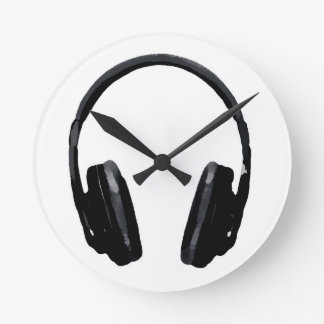 Pop Art Headphone Round Clock