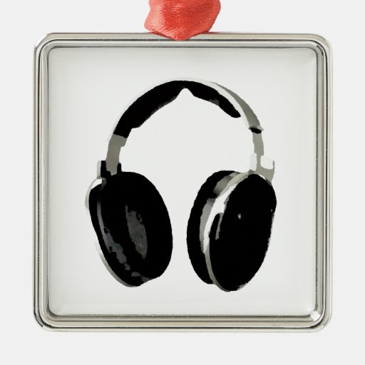 Pop Art Headphone Square Metal Christmas Ornament