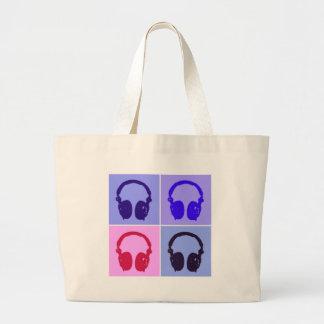 Pop Art Headphones Large Tote Bag