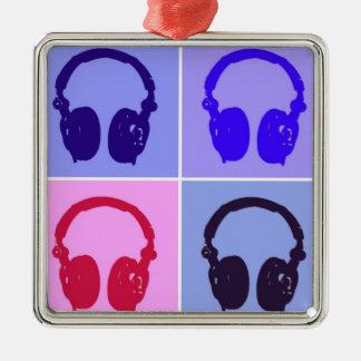 Pop Art Headphones Metal Ornament