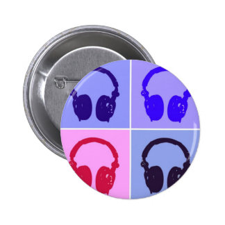 Pop Art Headphones Pinback Button