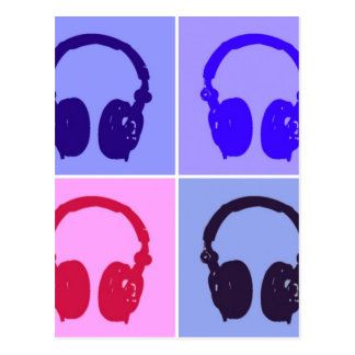 Pop Art Headphones Postcard