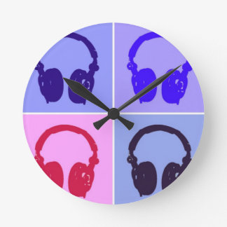Pop Art Headphones Round Clock